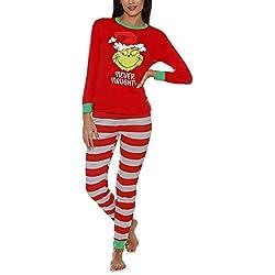 Conjunto de Pijamas navideños a Juego para la Familia Ropa de Dormir de Vacaciones Pijamas de Rayas Grinch para Mujeres/Hombres/niños/niñas
