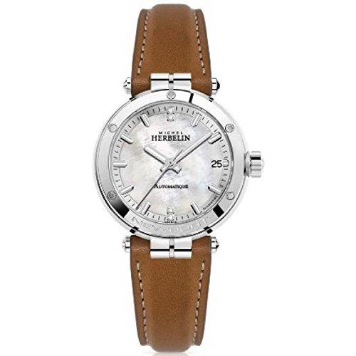 Michel Herbelin Damen-Armbanduhr - 1658/89GO - Newport - Diamanten - Uhrwerk Automatik - Datum - Glas Saphirglas kratzfest - Zifferblatt Perlmutt - Durchmesser 35 mm
