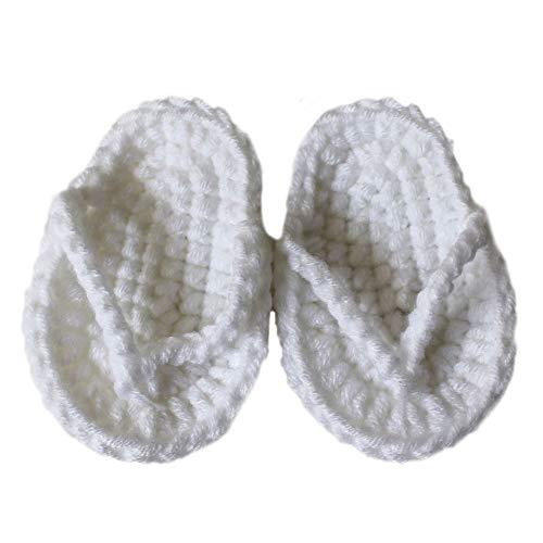 Ao Tuo Tuo - Pantofole da Neonato, realizzate a Mano all'Uncinetto, Accessori per Fotografia Bianco