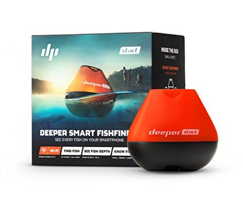 Deeper Sonar Wi-Fi Fishfinder Start, ecoscandaglio Portatile per Smartphone iPhone/Android e Tablet iPad/Android - Ideale per Pescatori da Riva - rilevazione profondità Fino a 50 Metri, Nero/Arancio