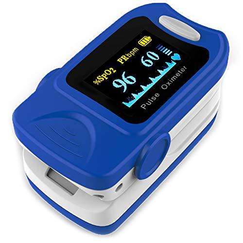AIESI Saturimetro Pulsossimetro Misuratore di Ossigeno da dito Professionale portatile con display...