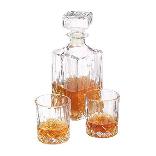 Relaxdays Set da Whisky 3 Pezzi, Bicchieri (250 ml) e Bottiglia Decanter, in Cristallo, Angolo Bar, Trasparente