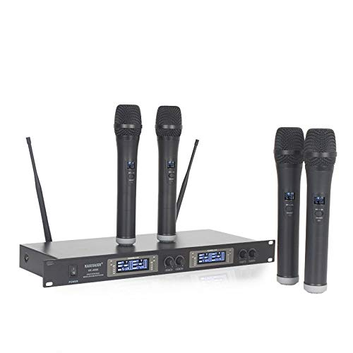 HITSAN INCORPORATION Four 4 Channel Gooseneck Conference/Handheld/Bodypack Microphone System Wireless for Meeting Room Church Schoolroom Karaoke Color Handheld