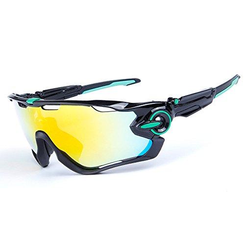 Ciclismo Gafas de Sol Jawbreaker polarizado Hombres Gafas Deportivas 4 Lentes Ciclismo Gafas Gafas de Bicicleta (Logotipo Negro y Verde)