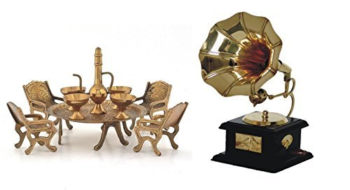 SAARTHI Handmade Vintage Dummy Gramophone Showpiece & Unique Design Dining Table Chair Maharaja Set (Brass) Combo - Brass,Brown,Golden