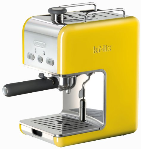 DeLonghi Espresso Maker with 15 Bars Pump Pressure Features Swivel Jet Frother and Dual Function Filter Holder for Pods or Ground Coffee, Built-In Cup Warming Tray, Yellow Finish