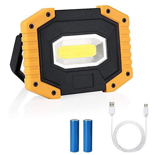 flintronic LED Portatile,20W&1500LM LED Ricaricabile con Batteria Ricaricabile Integrata 1 Grande COB Lavoro Luce da Campeggio Lamp Impermeabile, 3 Modalità Regolabili
