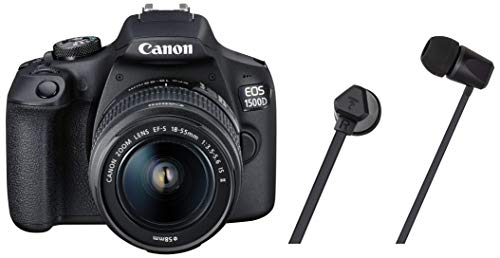 Canon EOS 1500D 24.1 Digital SLR Camera (Black) with EF S18-55 is II Lens, 16GB Card and Carry Case with Focal Sense 100SI in-Ear Earphone (Black)