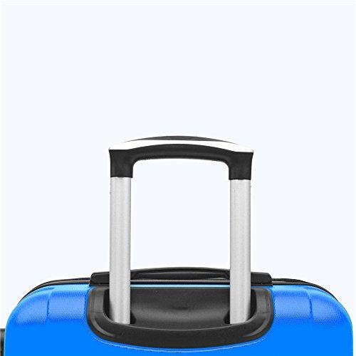 SHAIK SerieCLASSIC JFK Design Hartschalen Trolley, Koffer, Reisekoffer 4 Doppelrollen Zwillingsrollen, Zahlenschloss (Set, Dunkelblau) - 6