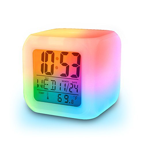 Inditradition Glowing LED Table Alarm Clock | 7 Color Changing | Digital Display of Time & Temperature - Battery Operated, White