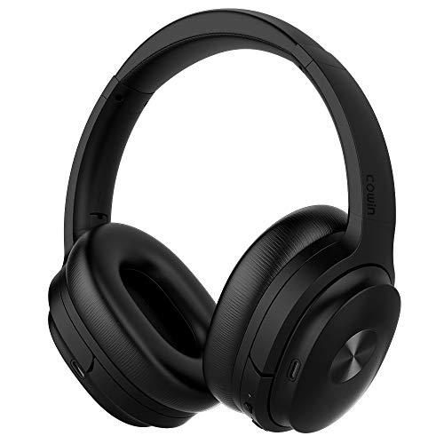 cowin SE7 Aktive Noise Cancelling Bluetooth Kopfhörer Drahtlose Kopfhörer über Ohr mit Mikrofon / Aptx, bequeme Protein-Ohrpolster 30H Playtime, faltbare Kopfhörer für Reisen / Arbeiten - Schwarz