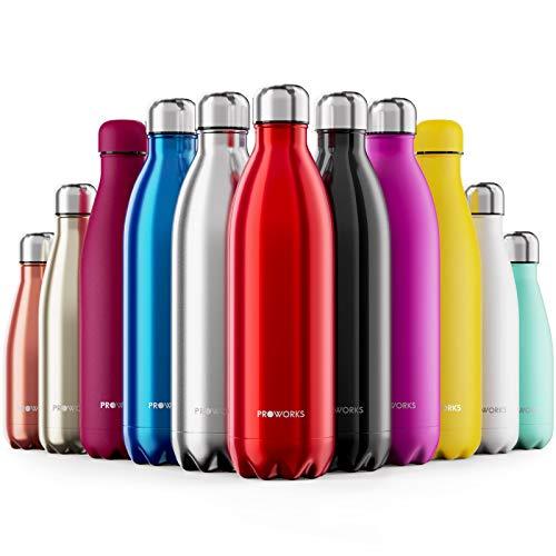 Proworks Bottiglia Acqua in Acciaio Inox, Senza BPA Vuoto Isolato Borraccia Termica in Metallo per Bevande Calde per 12 Ore & Fredde 24 Ore, Borraccia per Sport, Lavoro e Palestra - 500ml - Rosso