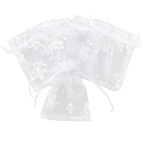 100pcs 12x9cm Bolsas de organza Color Blanco con mariposa Plateadas para Boda Bautizo Wedding Favour Gift Jewellery Tie Bag