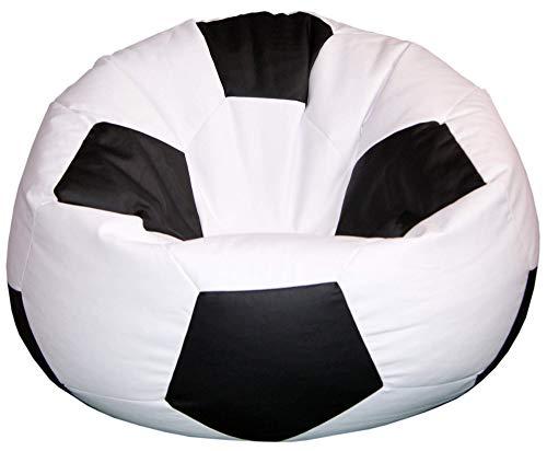 baselli Poltrona a Sacco Pouf Ø100 cm in Ecopelle Pallone da Calcio Bianco e Nero