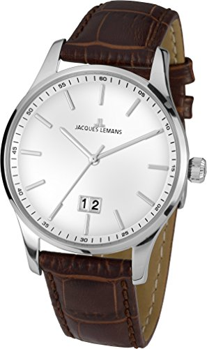 Jacques Lemans Herren-Armbanduhr London Analog Quarz Leder 1-1862B
