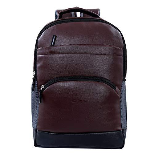 Brown Leatherette Waterproof Laptop Backpack (Brown, Black) (Brown)