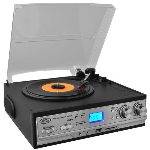 Pyle Classic Retro Turntable with Am Fm Radio/Cassette USB/SD Direct Record and Aux Input for iPod and MP3 Players
