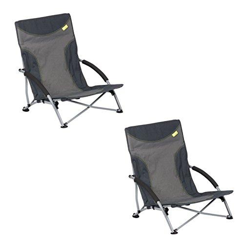 CamperWave Strandstuhl im 2er-Set | bequemer + extra Stabiler Strandstuhl | Extra breite Standfüße für weichen Boden | inkl. Tragetasche | 2er Set Grau