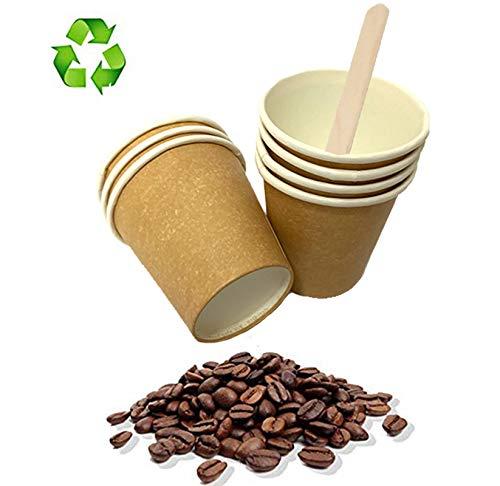 Palucart 500 Bicchieri in Carta per Caffe 90ml Colore Avana (3 oz) biodegradabili cartoncino per Bevande Calde Cappuccino caffè + 500 Palette in Legno di Betulla