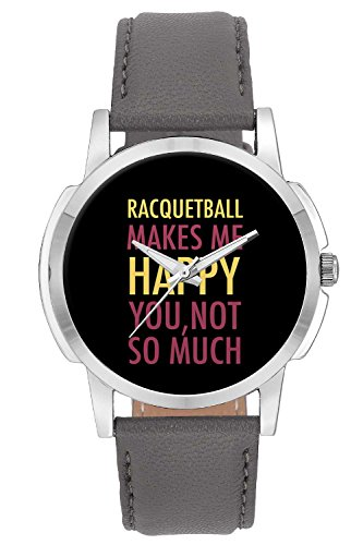 BigOwl Racquetball Makes Me Happy, You Not So Much Leather Band Quartz Analogue Round Yellow and Pink Dial Men's Wrist Watch