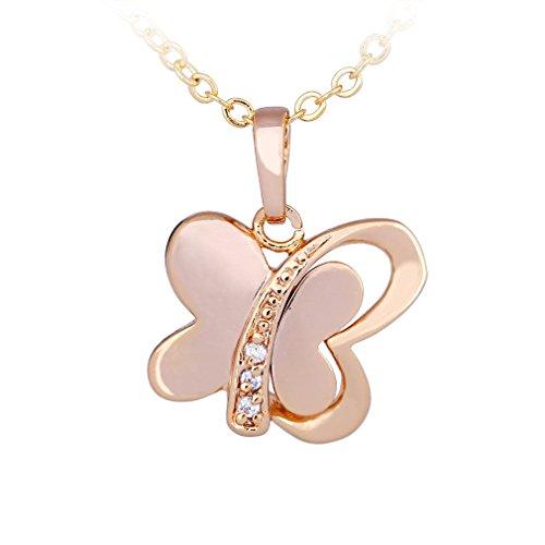 YAZILIND Joyería del Collar de 18 Quilates Chapado en Oro de Las Mujeres Hay Nuevo Diamante de la Mariposa Colgante de corazón
