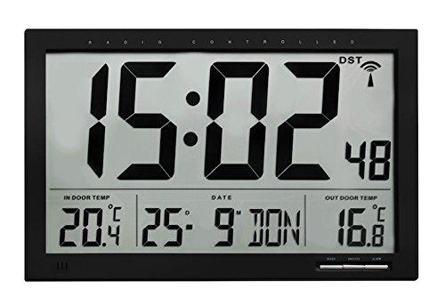 TFA Dostmann Digitale XL-Funkuhr mit Außen-und Innentemperatur, Kunststoff, Schwarz