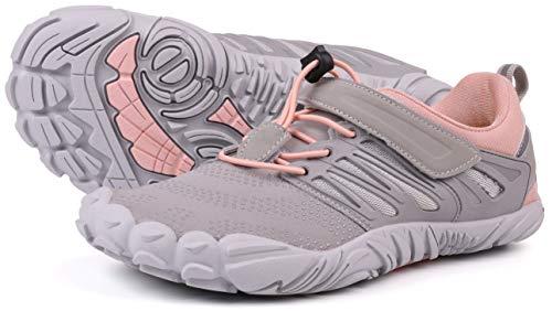 WHITIN Damen Minimalistisch Barfußschuhe Bequeme Zehenschuhe Laufschuhe Traillaufschuhe Für Frauen Atmungsaktiv Straßenlaufschuhe Freizeitschuhe Trekking Schuhe Grau Rosa Größe 41