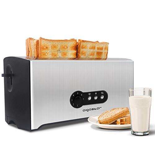 Aigostar Sunshine 30KDG - Edelstahl Toaster 4 Scheiben Langschlitz Mit Abnehmbarer Krümelschublade (1600 Watt, 7 Bräunungsstufen und 3 Kochfunktionen) Silber & Schwarz. EINWEGVERPACKUNG.