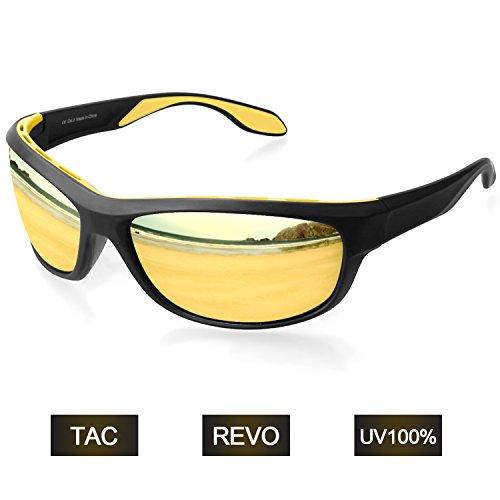Elegear Gafas de Sol Polarizadas Unisex 2018 Gafas Anti Rayos UVA UV Marco TR90 Lente Espejo con REVO Anti Aceite Gafas Hombre y Mujer Ciclismo Running Coche MTB Moto Montaña Esquí Golf- Amarillo