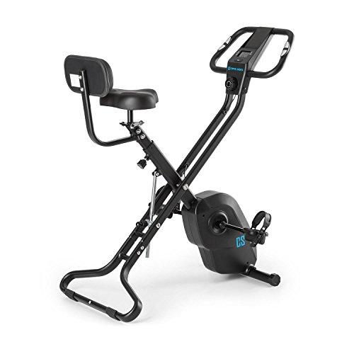 Capital Sports Azura X2 - Ergomètre , Vélo pliable en X , Vélo fitness , Home-trainer , Pulsomètre , Ordinateur d'entraînement , Pliable , Force d'inertie de 4kg , 8 niveaux de résistance , Noir