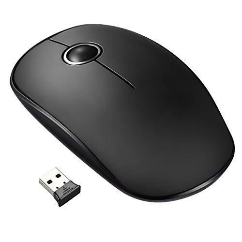 VicTsing VTGEPC071AB-ITVT1, Mouse Wireless Silenzioso ed Ultrasottile, Durata della Batteria 24 Mesi, con ricevitore nano, 2.4G, 1600 DPI, Nero