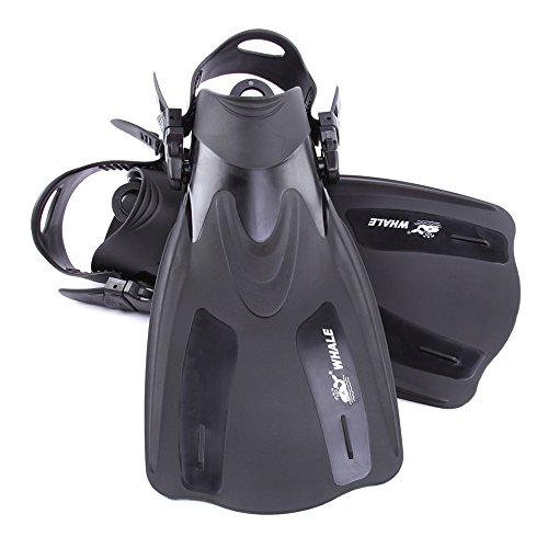 Lixada Adulto Corta Snorkeling Pinne Immersione Pinne Pinne con Tallone Regolabile Sport Acquatici, Black