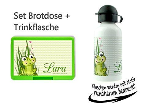 CreaDesign persönliche Brotdose BPA-Frei + Trinkflasche aus Aluminium 500 ml | personalisierbar mit Wunschnamen | Lunchbox Farbe auswählbar| Motiv Frosch Junge Mädchen