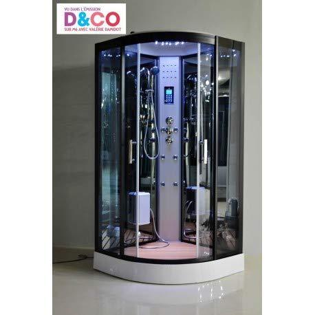 Desineo Duschkabine LUTECE Vollausstattung, Dampfdusche LED, Radio, Touchpanel Bluetooth 100 x 100 x 215 cm Full Options