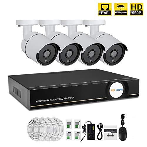 IMATEK Kit di video sorveglianza 960P PoE,telecamera Day/Night Bullet IR 4pcs, collegato con registratore NVR in H.264(Senza HDD Preinstallato)