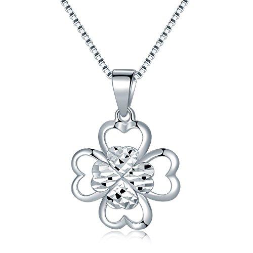 14K 585 Oro Bianco Taglio Diamante 4 Foglie Trifoglio Fiore Pendente Collana (40cm) Donne Gioielli Regalo