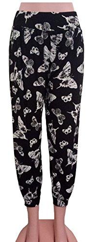 Xpression Fashion - Pantalón - para mujer Negro negro/mariposa 48