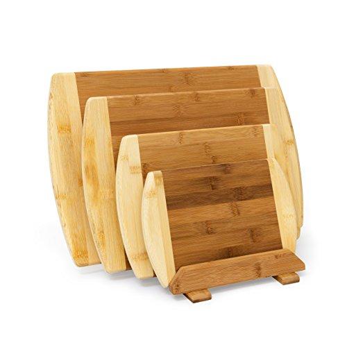 Relaxdays Set Taglieri da Cucina in Legno di Bambù con Sostegno ...
