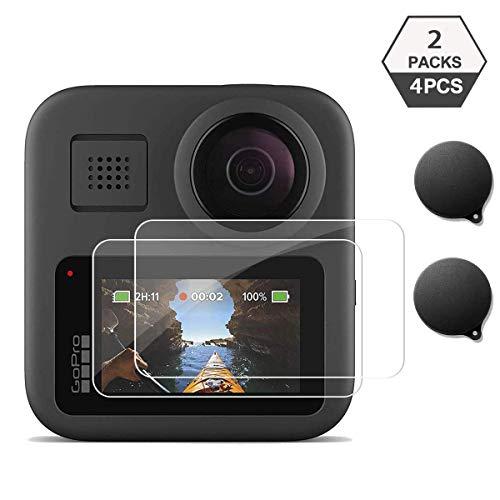 TUTUO Protettiva in Vetro Temperato per GoPro Max GoPro Fusion 2 Action Camera, Pellicola salvaschermo Protezione Copriobiettivo Accessori per GoPro Fusion 2 GoPro Max (Confezione da 4)