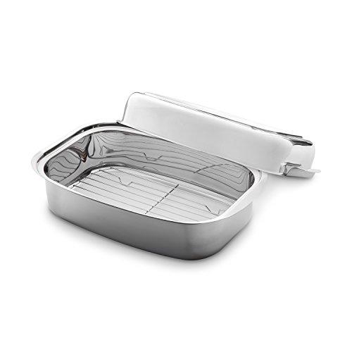 3 in 1 Edelstahlbräter 36 x 24 x 9,6 cm (7,2 l) Induktion Ofenbräter mit passgenauem Deckel inkl. herausnehmbarem Rost/Gitter zum Grillen