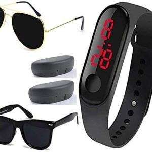 Sheomy New Arrival Special Collection Black Color Unisex Silicone Rubber Touch Screen Digital Watch LED Band Wrist Watch with Sunglasses Combo Ideal for Boys, Girls, Men, Women 1  Sheomy New Arrival Special Collection Black Color Unisex Silicone Rubber Touch Screen Digital Watch LED Band Wrist Watch with Sunglasses Combo Ideal for Boys, Girls, Men, Women 41oFdhckv9L