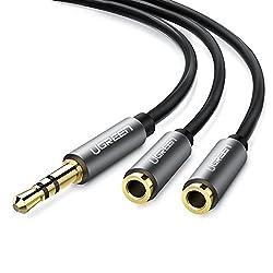 Kaufen UGREEN 10532 Audio Klinken Y Adapter 20cm Stereo audiokabel Splitter 3.5mm Stecker auf 2 x 3,5mm Buchse für Handys, Schwarz