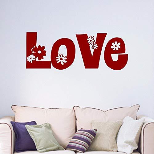 Amor Flores Decorativas Adolescentes Pareja Habitación matrimonial Dormitorio Sala de Estar Hogar Vinilo Ventana Vinilo Arte de la Pared Etiqueta Decal 22 * 59 cm