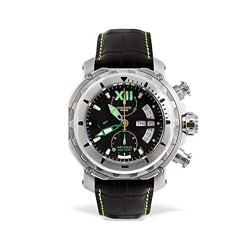 Visconti Herren-Armbanduhr Chronograph Automatik Leder Schwarz KW51-04