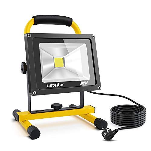 Ustellar 2400LM LED Baustrahler 30W (Ersetzt 200W), IP65 Wasserdicht Scheinwerfer mit 5M Netzkabel 6000K Kaltweiß Tragbare Werkstattlampen Außenstrahler für Arbeiten, Autoreparatur