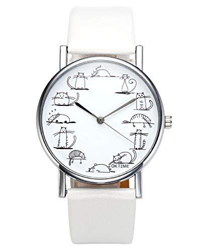Jsdde - Orologio da polso alla moda decorato con immagini di gatto da cartone animato, orologio per ragazze e donne, cinturino in pelle sintetica in poliuretano, orologio analogico al quarzo, bianco