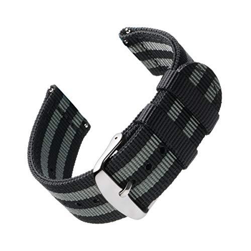 Archer Watch Straps | Premium Cinturino di Nylon Ricambio Sgancio Rapido Cinghia Orologio per Donne e Uomini, Orologi e Smartwatch | Nero e Grigio (James Bond), 20mm
