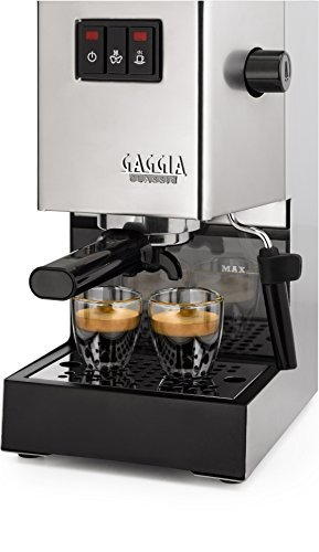 Gaggia Classic espresso coffee device (brushed stainless steel) (1 cup, 2 cups) (15 bars) (Gaggia Pods, Illy ESE pods)