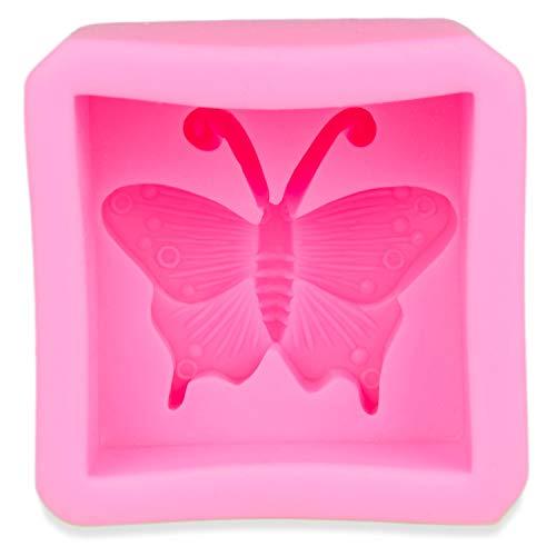 Jabón con forma de mariposa, fabricación de 3d de jabón, Vela, funzel, Muffin, tartas, Yeso, de forma, también para para gelatina, Mouse, cremas, Candle, Soap, mecha y cubitera, decorativa, jalea, color: rosa