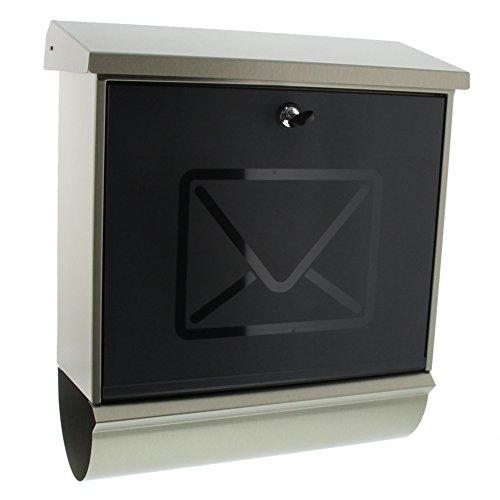 BURG-WÄCHTER, Edelstahlbriefkasten-Set mit Zeitungsbox, Satinierte Kunststoff-Tür, A4 Einwurf-Format, Vollflächig verzinkt, Edelstahl, Lucca-Set 3713 Ni, Letter